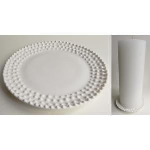 Portselanist valge küünlaalus (käsitöö) 13cm